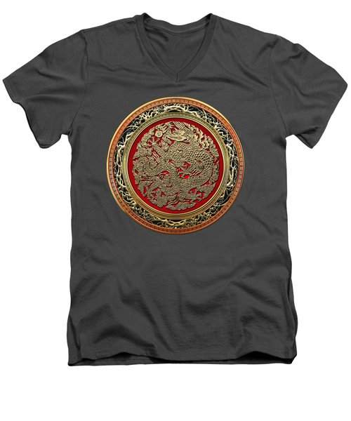 Golden Chinese Dragon On Red Velvet Men's V-Neck T-Shirt by Serge Averbukh
