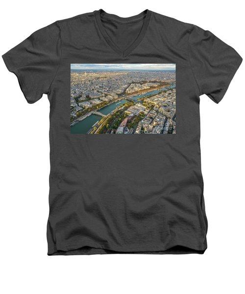 Golden Light Along The Seine Men's V-Neck T-Shirt by Mike Reid