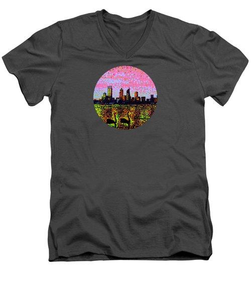 Golden Skyline Perth Men's V-Neck T-Shirt by Alan Hogan