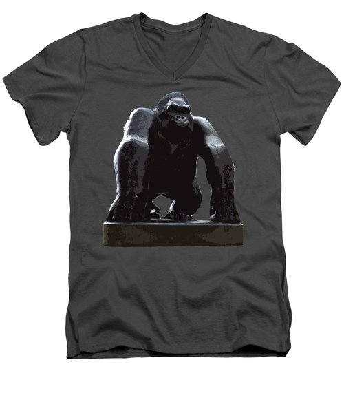 Gorilla Art Men's V-Neck T-Shirt by Francesca Mackenney