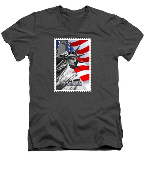 Graphic Statue Of Liberty With American Flag Text Freedom Men's V-Neck T-Shirt by Elaine Plesser