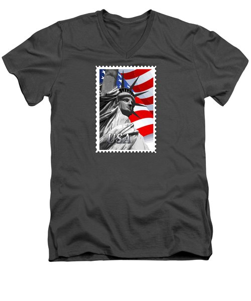 Graphic Statue Of Liberty With American Flag Text Usa Men's V-Neck T-Shirt by Elaine Plesser