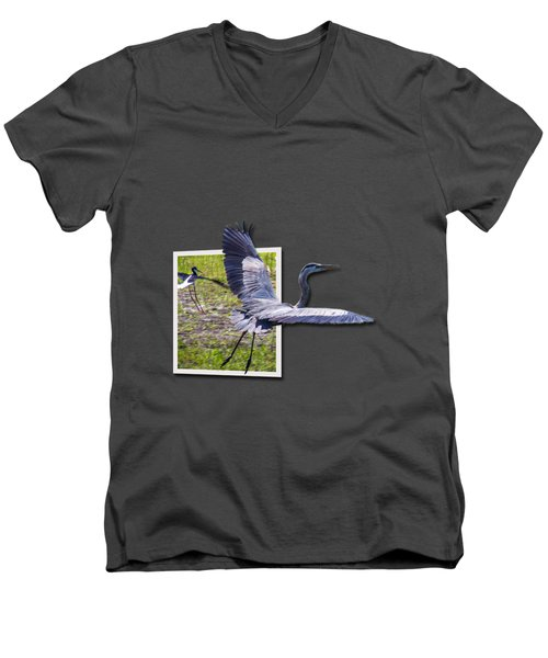 Great Blue Heron Takes Flight Men's V-Neck T-Shirt by Roger Wedegis