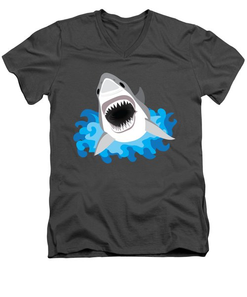 Great White Shark Leaps From Waves Men's V-Neck T-Shirt by Antique Images