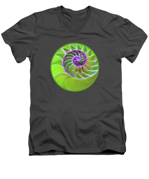 Green And Purple Spiral Men's V-Neck T-Shirt by Gill Billington