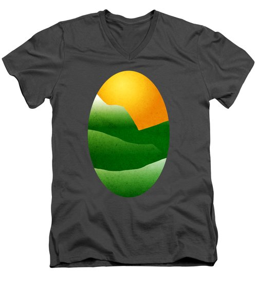 Green Mountain Sunrise Landscape Art Men's V-Neck T-Shirt by Christina Rollo