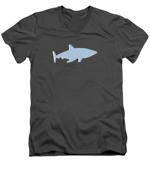 Grey And Yellow Shark Men's V-Neck T-Shirt by Linda Woods