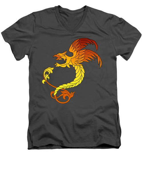 Griffin Griffon Gryphon In Flaming Colours Men's V-Neck T-Shirt by Heidi De Leeuw