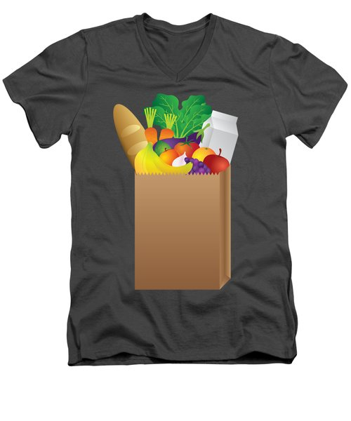 Grocery Paper Bag Of Food Illustration Men's V-Neck T-Shirt by Jit Lim