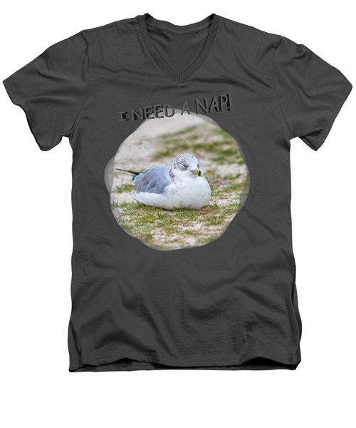 Gull Nap Time Men's V-Neck T-Shirt by John M Bailey