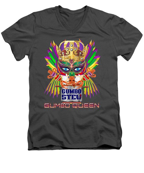 Gumbo Queen 1 All Products  Men's V-Neck T-Shirt by Bill Campitelle