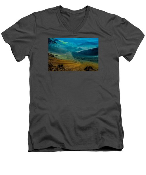 Men's V-Neck T-Shirt featuring the photograph Haleakala by M G Whittingham