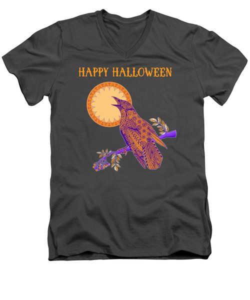 Halloween Crow And Moon Men's V-Neck T-Shirt by Tammy Wetzel