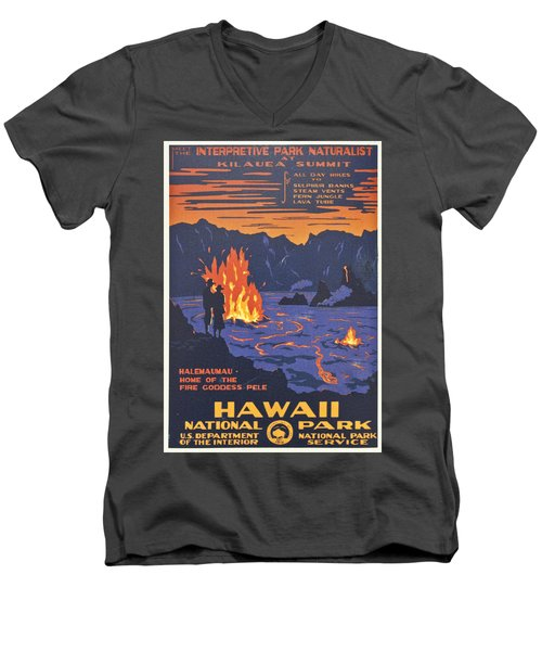 Hawaii Vintage Travel Poster Men's V-Neck T-Shirt by Georgia Fowler