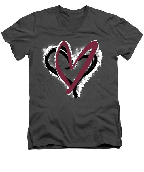 Hearts Graphic 6 Men's V-Neck T-Shirt by Melissa Smith