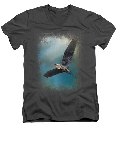 Heron In The Midst Men's V-Neck T-Shirt by Jai Johnson