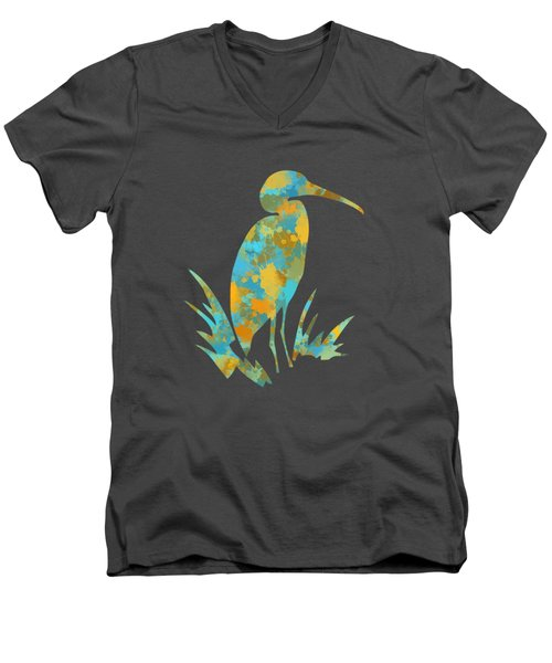 Heron Watercolor Art Men's V-Neck T-Shirt by Christina Rollo