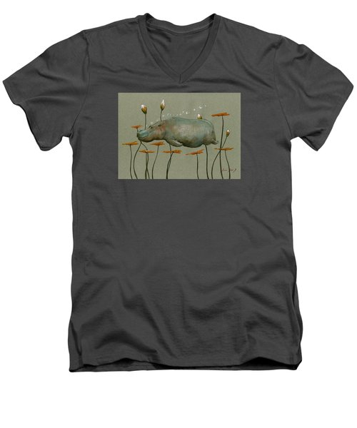 Hippo Underwater Men's V-Neck T-Shirt by Juan  Bosco