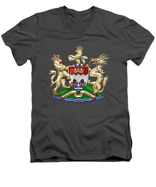 Hong Kong - 1959-1997 Coat Of Arms Over Red Leather  Men's V-Neck T-Shirt by Serge Averbukh