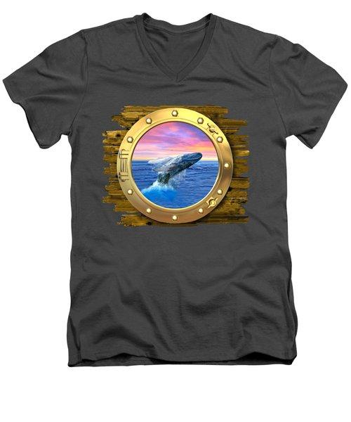 Humpback Whale Breaching At Sunset Men's V-Neck T-Shirt by Glenn Holbrook