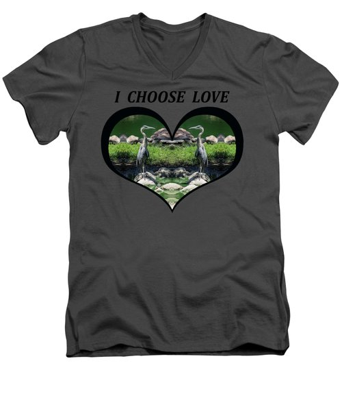 I Chose Love With A Heart Framing Blue Herons Men's V-Neck T-Shirt by Julia L Wright
