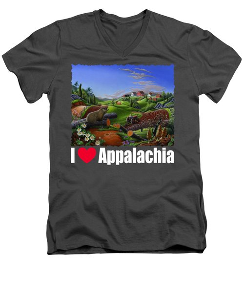 I Love Appalachia T Shirt - Spring Groundhog - Country Farm Landscape Men's V-Neck T-Shirt by Walt Curlee