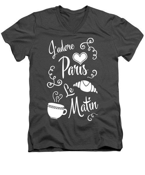 I Love Paris In The Morning Men's V-Neck T-Shirt by Antique Images