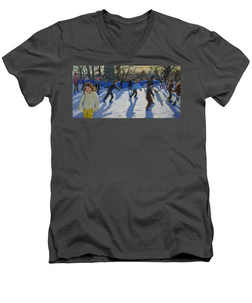 Ice Skaters At Christmas Fayre In Hyde Park  London Men's V-Neck T-Shirt by Andrew Macara