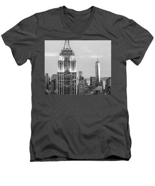 Iconic Skyscrapers Men's V-Neck T-Shirt by Az Jackson