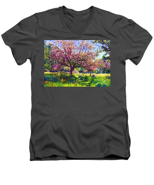 In Love With Spring, Blossom Trees Men's V-Neck T-Shirt by Jane Small