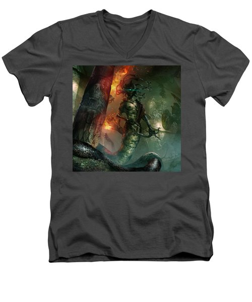 In The Lair Of The Gorgon Men's V-Neck T-Shirt by Ryan Barger