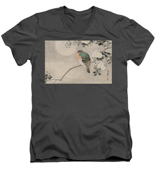 Japanese Silk Painting Of A Wood Pigeon Men's V-Neck T-Shirt by Japanese School