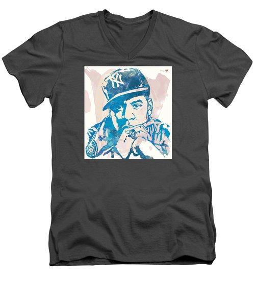 Jay-z  Etching Pop Art Poster Men's V-Neck T-Shirt by Kim Wang