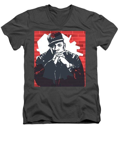 Jay Z Graffiti Tribute Men's V-Neck T-Shirt by Dan Sproul