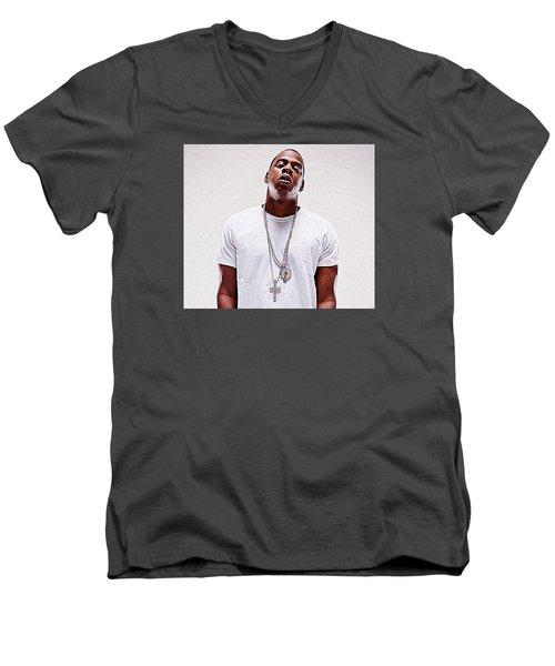 Jay-z Men's V-Neck T-Shirt by Iguanna Espinosa