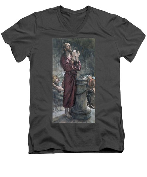 Jesus In Prison Men's V-Neck T-Shirt by Tissot