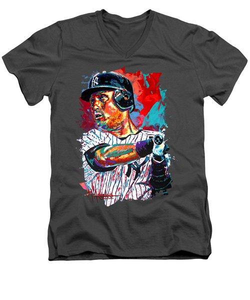 Jeter At Bat Men's V-Neck T-Shirt by Maria Arango