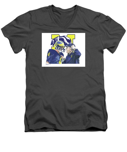 Jim Harbaugh And Bo Schembechler Men's V-Neck T-Shirt by Chris Brown