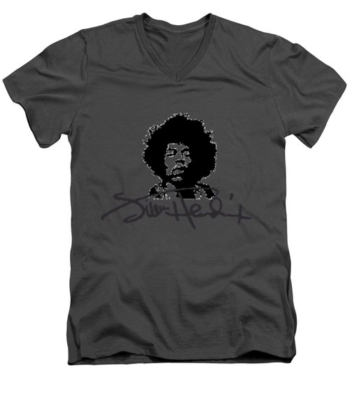 Jimi Hendrix Purple Haze Men's V-Neck T-Shirt by David Dehner