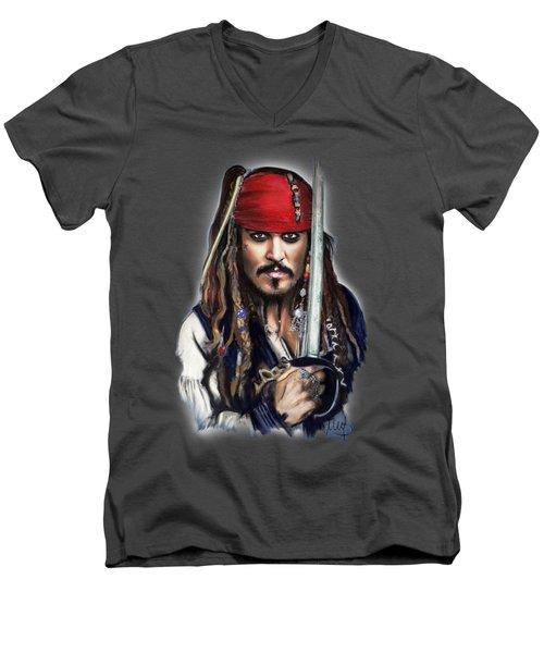 Johnny Depp As Jack Sparrow Men's V-Neck T-Shirt by Melanie D