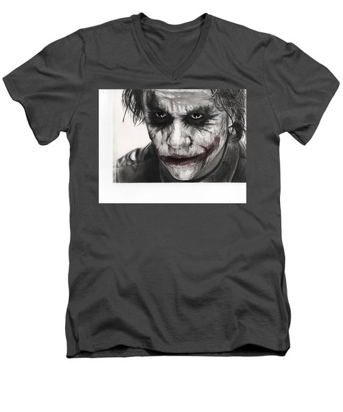 Joker Face Men's V-Neck T-Shirt by James Holko