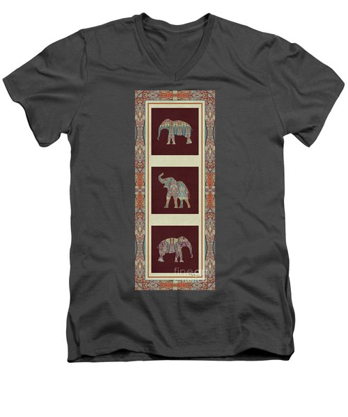 Kashmir Elephants - Vintage Style Patterned Tribal Boho Chic Art Men's V-Neck T-Shirt by Audrey Jeanne Roberts