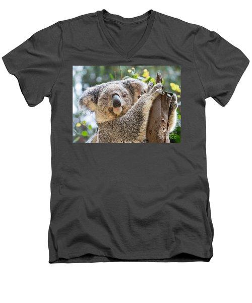 Koala On Tree Men's V-Neck T-Shirt by Jamie Pham
