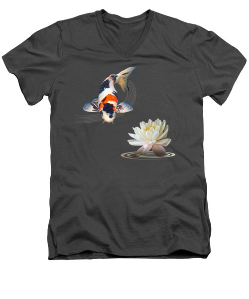 Koi Carp Abstract With Water Lily Square Men's V-Neck T-Shirt by Gill Billington