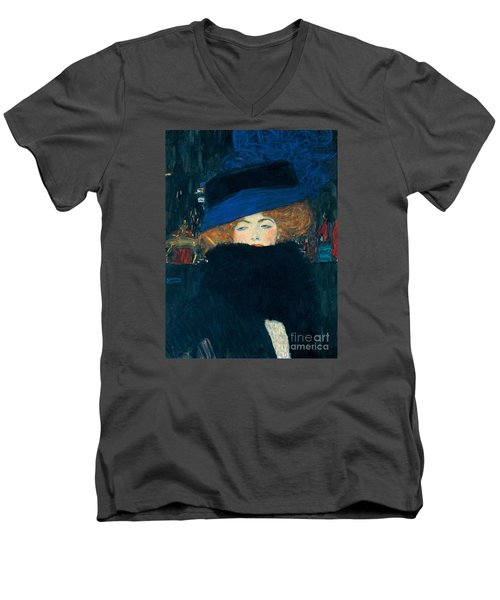 Lady With A Hat And A Feather Boa Men's V-Neck T-Shirt by Gustav Klimt