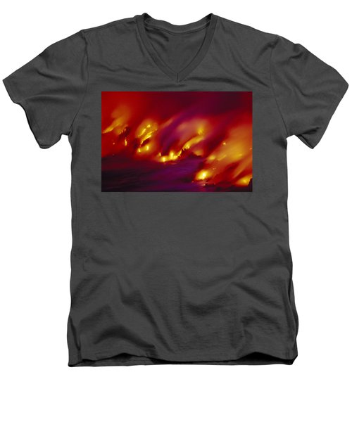 Lava Up Close Men's V-Neck T-Shirt by Ron Dahlquist - Printscapes