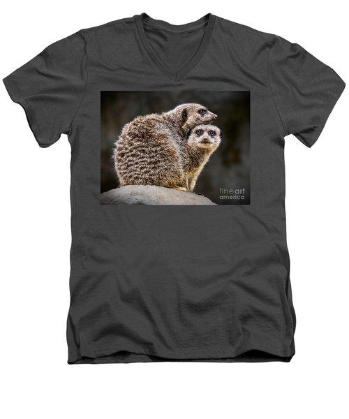 Lean On Me Men's V-Neck T-Shirt by Jamie Pham