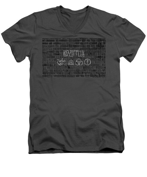 Led Zeppelin Brick Wall Men's V-Neck T-Shirt by Dan Sproul