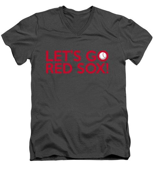Let's Go Red Sox Men's V-Neck T-Shirt by Florian Rodarte