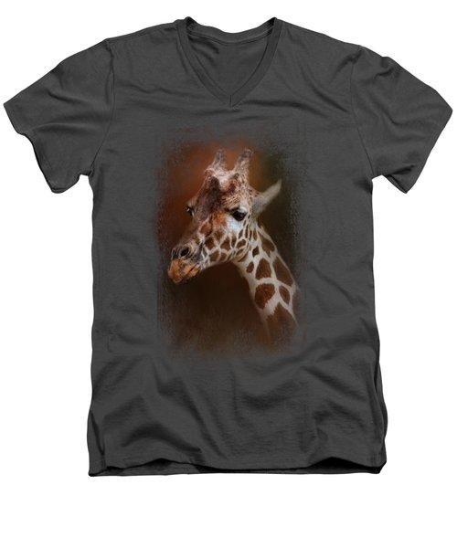 Long Neck Men's V-Neck T-Shirt by Jai Johnson
